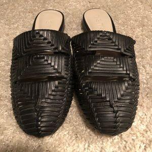 Black woven type mules/ slides
